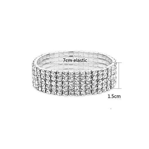 Elastische Anklet Stretch Fußkettchen Frauen Boho-Kristall-Armband barfüßigsandelholze Fuss-Schmucksachen, 5 Reihe Fußkettchen (Fußkettchen-zehe-ring-set)
