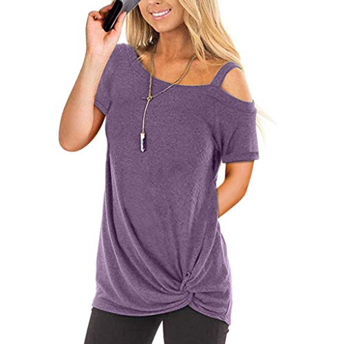Lulupi Oberteile Damen Schulterfrei T Shirt Sommer Kurzrarm Tunika Top Vorderknoten Side Twist Tunika One Shoulder Bluse Tops Lose Asymmetrisch Cold Shoulder Tops -