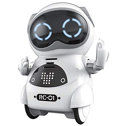 Geniebox Mini Robot, Pocket Robot for Kids with Interactive Dialogue Conversation, Voice Recognition, Chat Record, Singing & Dancing - White