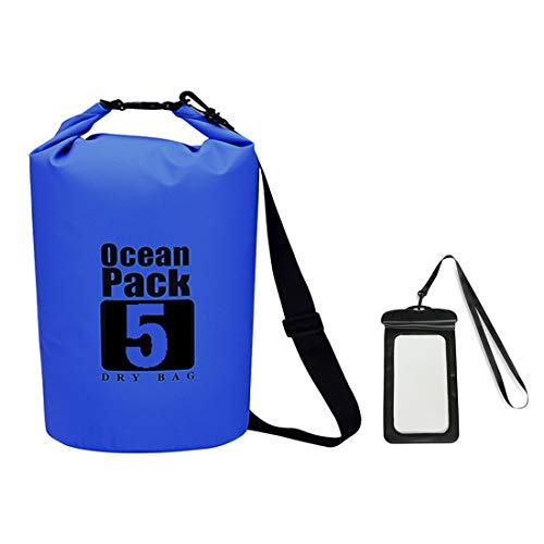 Premium bolsa estanca impermeable seca PVC- Set con Bolsillo para móvil y Correas de bolsa waterproof para playa y deportes al aire(rafting/kayak/senderismo/esquí/pesca/escalada/camping)