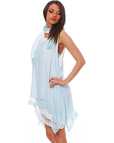 Moda Italy 3-Teilige Damen Tunika NETZTUNIKA Kleid Longshirt ZIPFELBLUSE mit Tuch Lagenlook Strandkleid Spitze Zarte Farben Hellblau