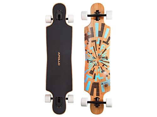 Apollo Longboard Soul Flex 2 Bamboo Board, 40 inch Twin-Tip Drop-Through Freeride Cruiser Board