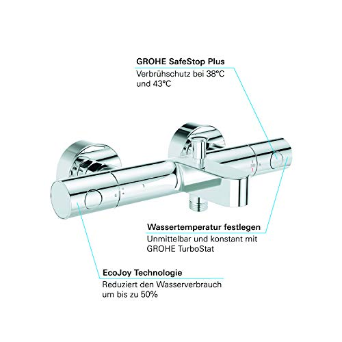 Grohe –  Grohtherm 1000 Cosmopolitan Thermostat-Wannenbatterie, Chrom - 5