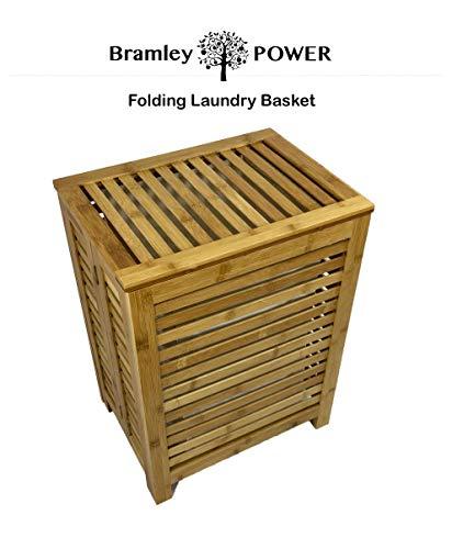 Bramley power rettangolare in bambù con coperchio pieghevole per bucato biancheria vestiti cesto cestino sgabello