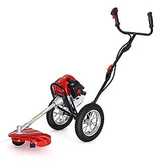 AOSOME 52 cc 2-Stroke Petrol Wheeled Garden Grass Trimmer with Wheels