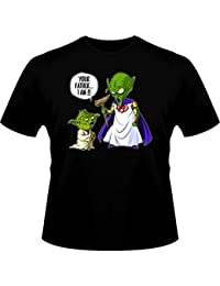 T-Shirt Manga - Yoda of Star Wars and God from Dragon Ball Z Parody - Traduction Anglais - Your Father I am - T-shirt Homme Noir - Haute Qualité
