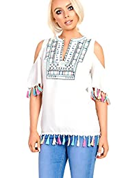 Women's Ladies Cold Shoulder Tassel Blouse Top