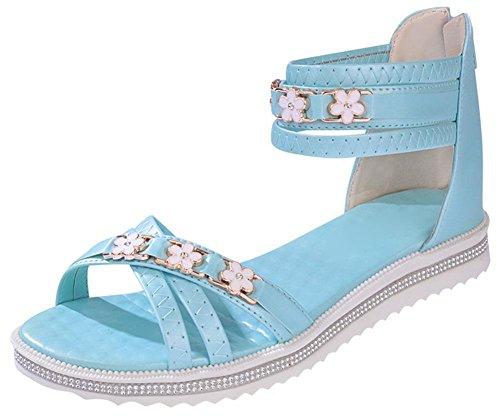 Nach dem Reißverschluss flachen Schuhe in Rom weiblichen Studenten lässige Sandalen der Frauen Blue