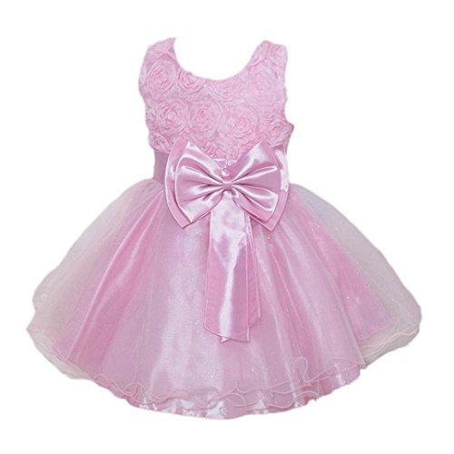 OverDose Kleinkind Baby Mädchen Bling Pailletten Ärmellos Brautjungfern Tutu Prinzessin Kleid Abendkleid Geburtstag Weihnachten Party Kleider(7-8T,Rosa) (Gelb Brautjungfer Schuhe)