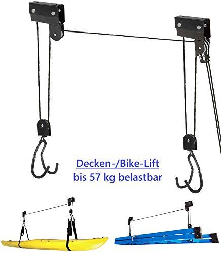 P4B Fahrrad-Lift | Decken-Lift | Bike-Lift | Garagen-Lift mechanisch geeignet für Lasten bis 57 kg zur Aufbewahrung von schweren Gegenständen