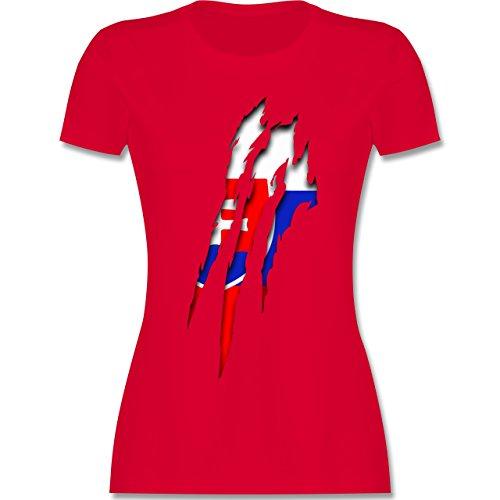 Länder - Slowakei Krallenspuren - tailliertes Premium T-Shirt mit Rundhalsausschnitt für Damen Rot