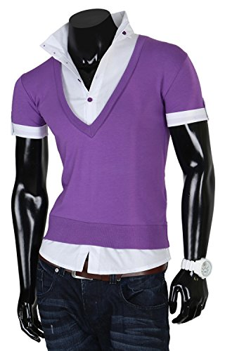 Tazzio Herren T-Shirt Hemd Longshirt T-Shirt Polohemd Lila-Weiß