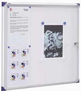 Nobo - Vitrine d'intérieur extra plate à fond magnétique, 6xA4, porte battante, Blanc