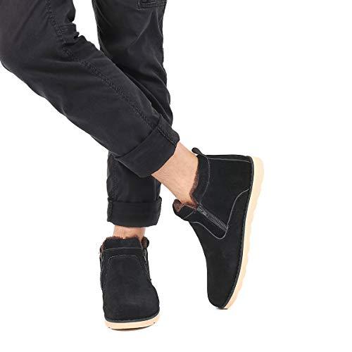 Gracosy Winter Stiefeletten Flach Gefüttert Kurzschaft Stiefel Seitlicher Reißverschluss Suede Schuhe Unisex, Gr.-43 EU, Schwarz