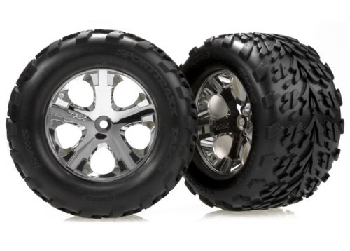 "Traxxas 3668 Talon Tires Pre-Glued on 2.8"" Chrome All Star wheels, Electric Rear (Pair)"