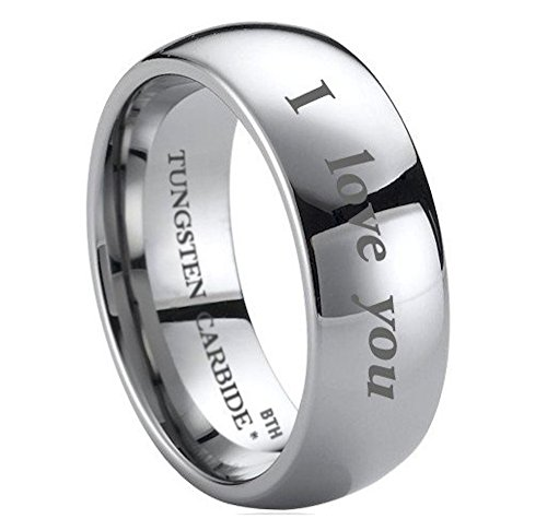Mens Tungsten Ring - 8mm Wide Engraved Outside With I Love You Classic Unisex Wedding Engagement Comfort Fit Jewellery Band Ring- (Available in Most Sizes )