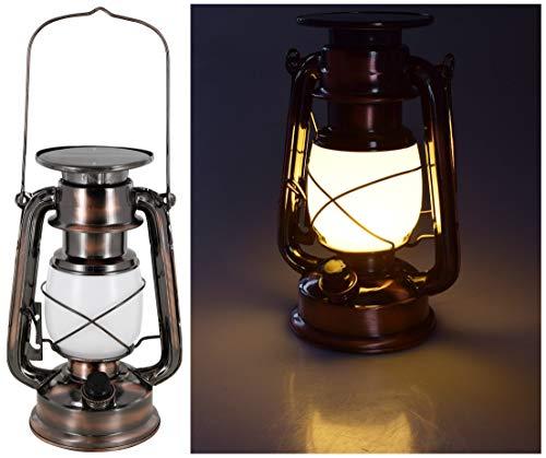 LED Solar Retro Sturmlampe - Drehschalter mit Dimmfunktion - Metallgehäuse - Lithium-Akku - 420 Lumen - warmweiß (2700 K)
