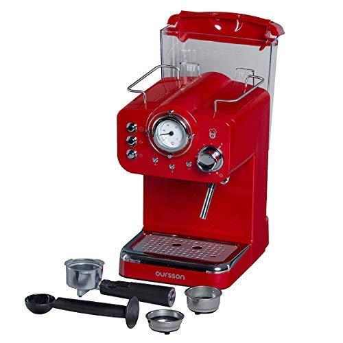 3 a/ños de Garantia Rojo Tanque de Agua de 1.5 litros Oursson Cafetera Cappuccino y Caf/é con 15 Bares de presi/ón EM1500//RD Rojo 900 Vatios