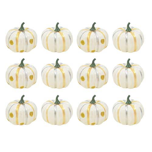 Amosfun 12pcs künstlicher Kürbis-Schaum-Kürbis für Halloween-Fall und Erntedank-Dekorations-Weiß (Mit Halloween-basteln Mini-kürbisse)