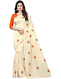 Vastrang Women's Cotton Silk Embroidered Saree With Blouse Piece(TTLRD_Red_Free Size)