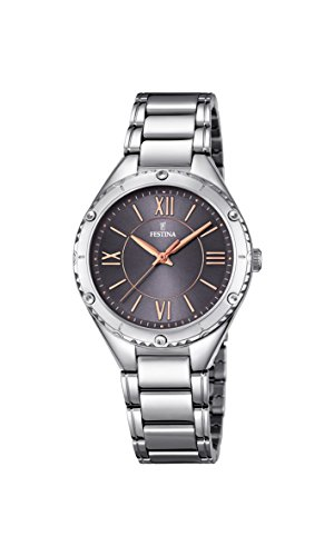Festina BOYFRIEND Women's Quartz Watch with Grey Dial Analogue Display and Silver Stainless Steel Bracelet F16921/2