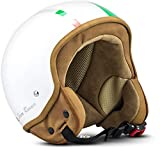 SOXON SP-301 Italy Casque Jet Chopper Cruiser Biker Pilot Vespa Moto Mofa Scooter Demi-Jet Retro Bobber Vintage Helmet, ECE certifiés, compris le sac de casque, Blanc (Italie), M (57-58cm)