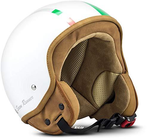 "Soxon® SP-301 ""Italy"" · Jet-Helm · Motorrad-Helm Roller-Helm Scooter-Helm Bobber Mofa-Helm Chopper Retro Cruiser Vintage Pilot Biker Helmet Brille Visier · ECE Schnellverschluss Tasche S (55-56cm)"