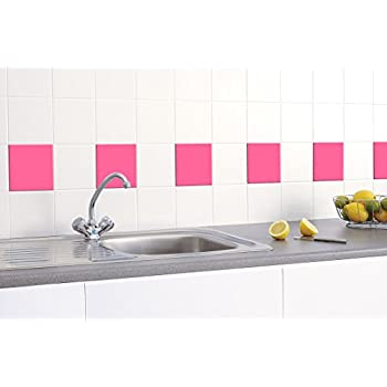 50 X TILE STICKERS (150mm X 150mm) TO FIT 6 INCH KITCHEN / BATHROOM TILES    GREENSTAR GRAPHICS ® (PINK)