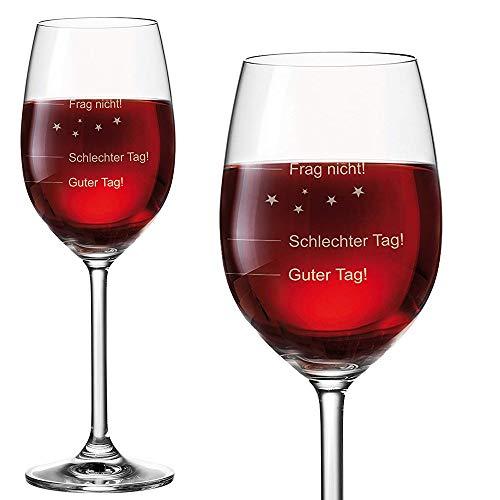 van Hoogen 2er Set - 2 Stück Leonardo Premium Weinglas | Stimmungsglas Guter Tag!, Schlechter Tag! - Frag Nicht!, 365 ml mit Gravur Rotweinglas/Weißweinglas - originelles Geschenk | Leonardo