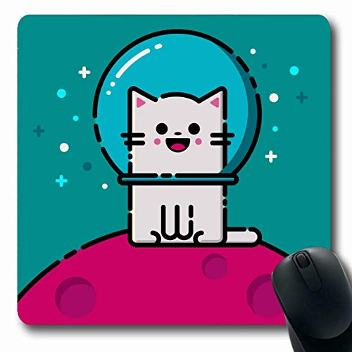 Luancrop Mousepad Oblong Blue Happy Emoticon Katzenraum Haustier Rosa Gesicht Fisch Schüssel Auge Fischen Design Kitty Büro Computer Laptop Notebook Mauspad, rutschfestem Gummi -