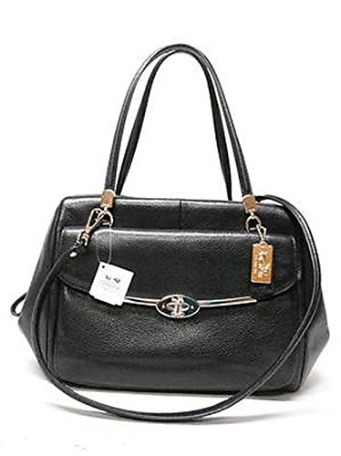 Coach Madison Small Leather Madeline East/West Satchel Silver/Black - Schuhe Madeline