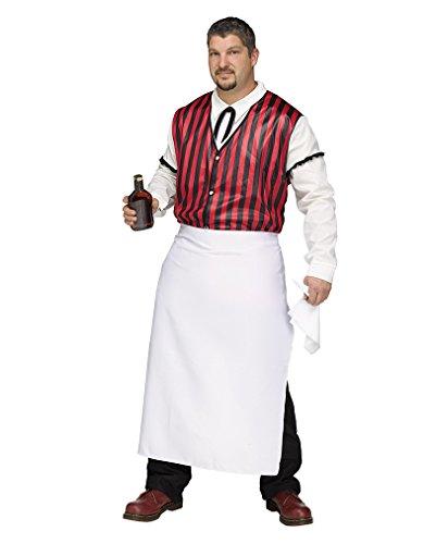 Plus Size Wild West Saloon Barkeeper Kellner Kostüm für Herren XL