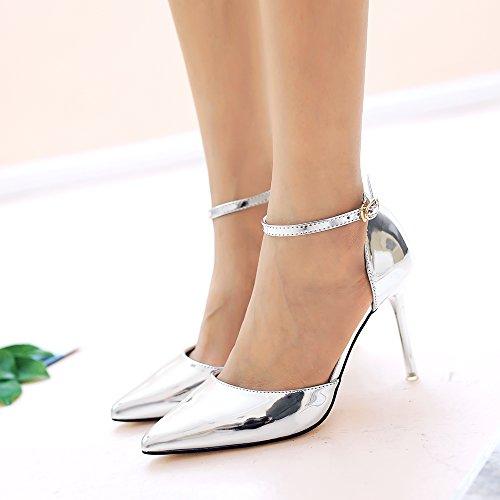 Aisun Damen Elegant Spitz Zehe Offen Metallglanz Stiletto Knöchelriemchen Sandale Silber