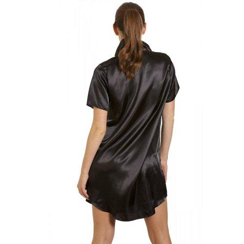Chemise de nuit en satin - femme - noir Noir