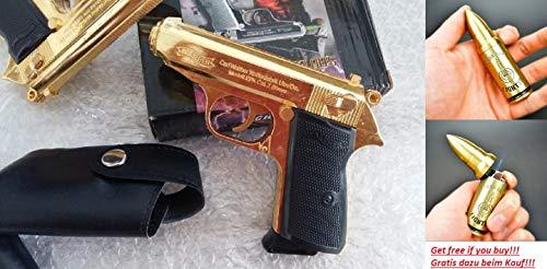 Hawk Pistolen Feuerzeug PPK Gold 1:1 Model NEU&OVP!!! -