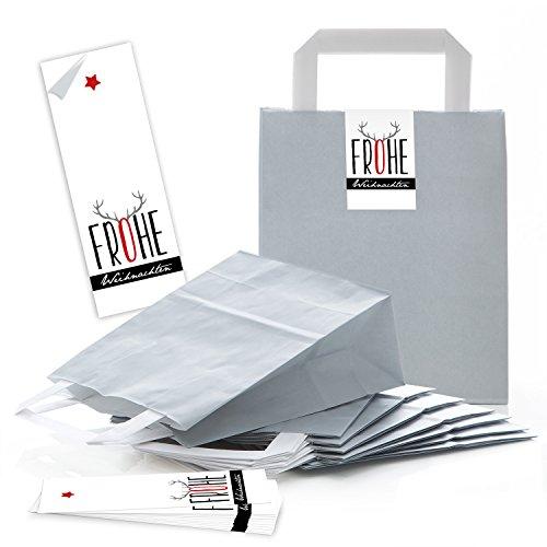 10 graue Papiertüten Geschenk-tüten Weihnachtstüten 18 x 8 x 22 cm kleine Papiertaschen + Weihnachts-Aufkleber FROHE WEIHNACHTEN schwarz rot grau Rentier-Geweih Verpackung