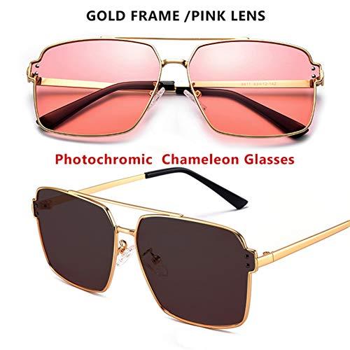 VIWIV Sonnenbrillen, Photochrome Quadratische HD-Polarisierte Sonnenbrillen, Geeignet Für Männer Und Frauen, Farbwechselnde Sonnenbrillen, Tag- Und Nachtsichtbrille,Rosa