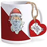 TIED RIBBONS Christmas Special Santa Printed Coffee Mug(320 ml) with Wooden Tag Christmas Gift Set for Friends, Kids Family and Home Decoration