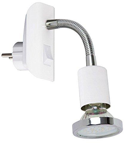 Luz de lectura LED de Trango®, para iluminación nocturna con interruptor, incluyebombilla LED de 3 vatios, GU10 (LM)