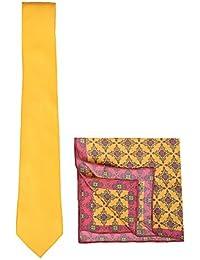 Chokore Yellow Silk Tie & Orange & Magenta Silk Pocket Square Set