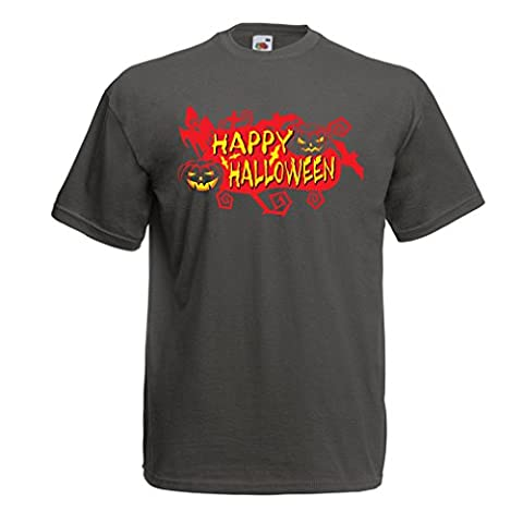 N4638 T-shirt male Happy Halloween! (X-Large Graphite Multi Color)
