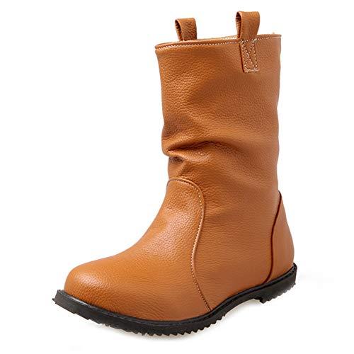 Frauen Flache Western Cowboy Martin Stiefeletten Runde Zehe Slip-On Bootie Comfy Reiten Walking Short Boot
