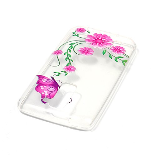 LG K7 Hülle,SainCat Silikon Hülle Tasche Handyhülle [Kratzfeste, Scratch-Resistant] TPU Gel Bumper Case Weiches Transparentes Silikon Schutzhülle Crystal Kirstall Clear Case Durchsichtig Malerei Muste Rosa Schmetterling