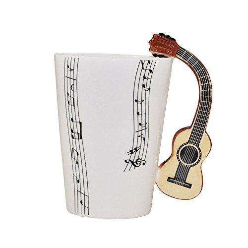 Note Musicali Disegno Bone China Tazza Di Ceramica Tazza Di Caffè Con Manico Di Chitarra, B - Bone Disegno