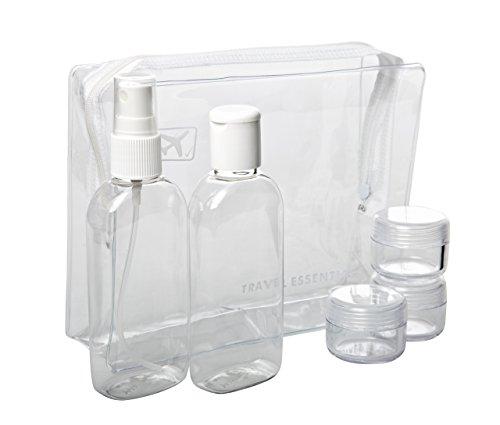 Key trading - Confezione di 4 bottiglie da viaggio trasparenti, 100 ml e busta da viaggio in regalo, approvate dalla sicurezza aerea
