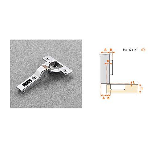 Bisagra Acodada serie 200 de Ø35 mm. Apertura 110º, Clip, con base incluida