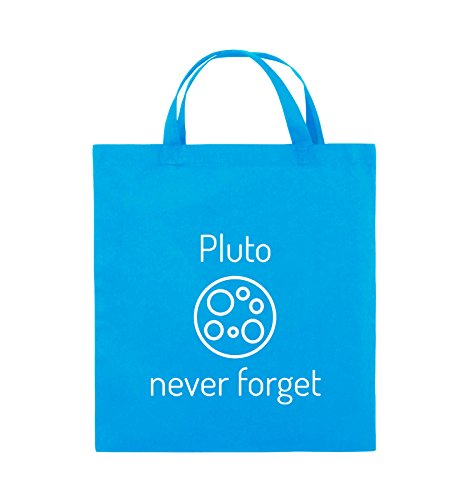 Borse Comiche - Pluto Mai Dimenticare - Borsa In Juta - Manico Corto - 38x42cm - Colore: Nero / Rosa Azzurro / Bianco
