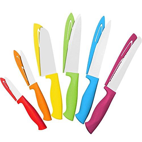 Set di coltelli colorati in acciaio, 12 pezzi - 6 coltelli da cucina in acciaio con 6 coprilama - set di coltelli da chef con: coltello per il pane, per affettare, santoku, multiuso, coltello per sbucciare - set di coltelli colorati di cooler kitchen