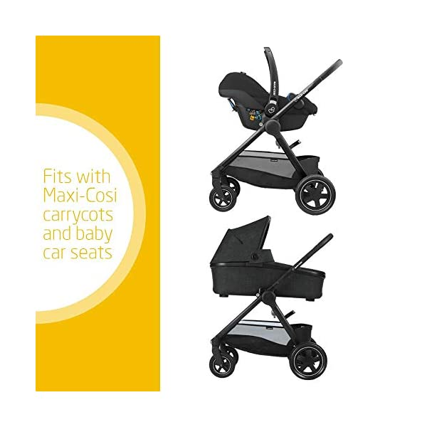 Maxi-Cosi Adorra Baby Pushchair, Comfortable and Lightweight Stroller with Huge Shopping Basket, Suitable from Birth, 0 Months - 3.5 Years, 0-15 kg, Nomad Black Maxi-Cosi Urban stroller, suitable from birth to 15 kg (birth to 3.5 years) Cocooning Seat: The luxury of a large padded seat for the extra comfort of your little one A lightweight stroller less than 12 kg that makes walking effortless 2