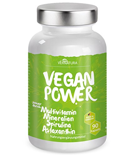 vernatura VEGAN POWER - Multivitamin, Mineralien, Spirulina, Astaxanthin - vegan - 90 Kapseln - Made in Germany